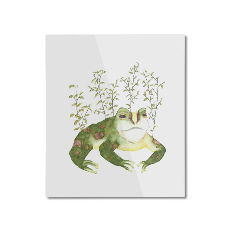 Green Watercolor Frog with Leaves Home Mounted Aluminum Print by The Wilderness Store
