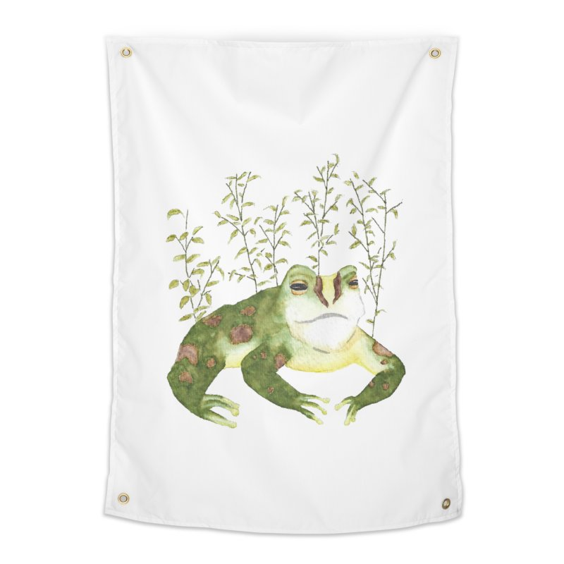Green Watercolor Frog with Leaves Home Tapestry by The Wilderness Store