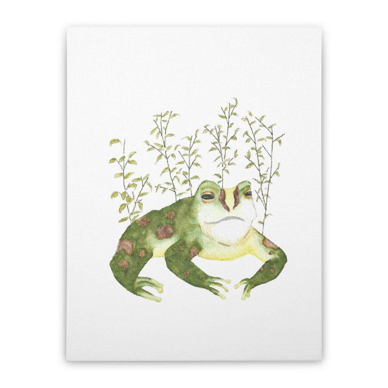 Green Watercolor Frog with Leaves Home Stretched Canvas by The Wilderness Store