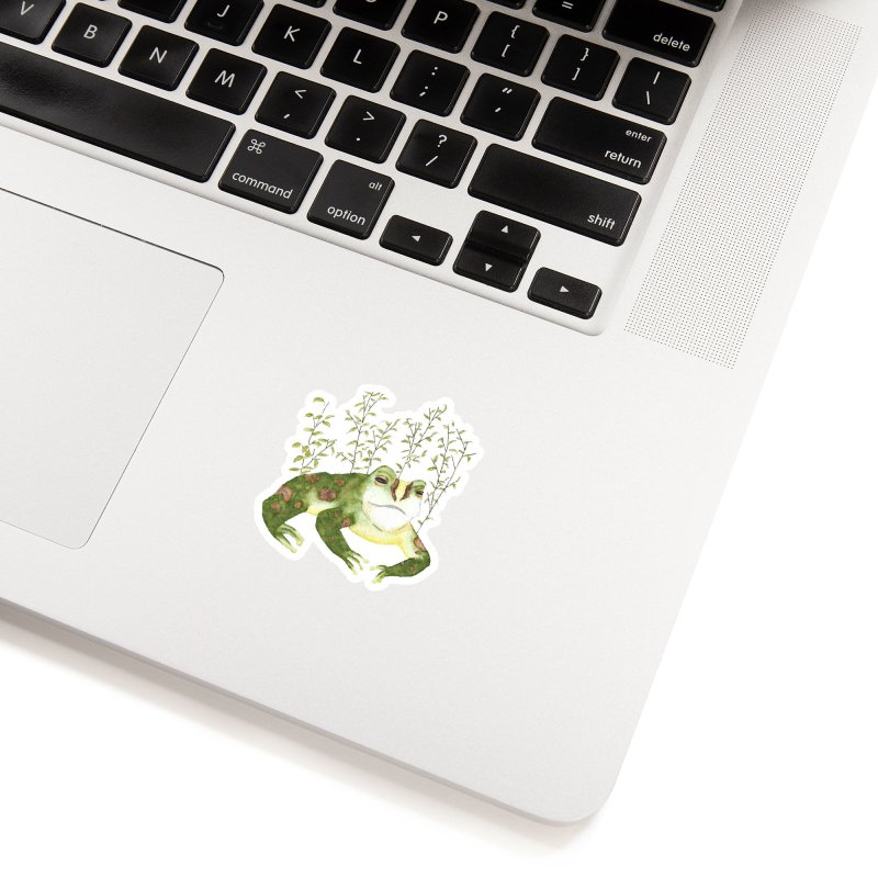 Green Watercolor Frog with Leaves Accessories Sticker by The Wilderness Store