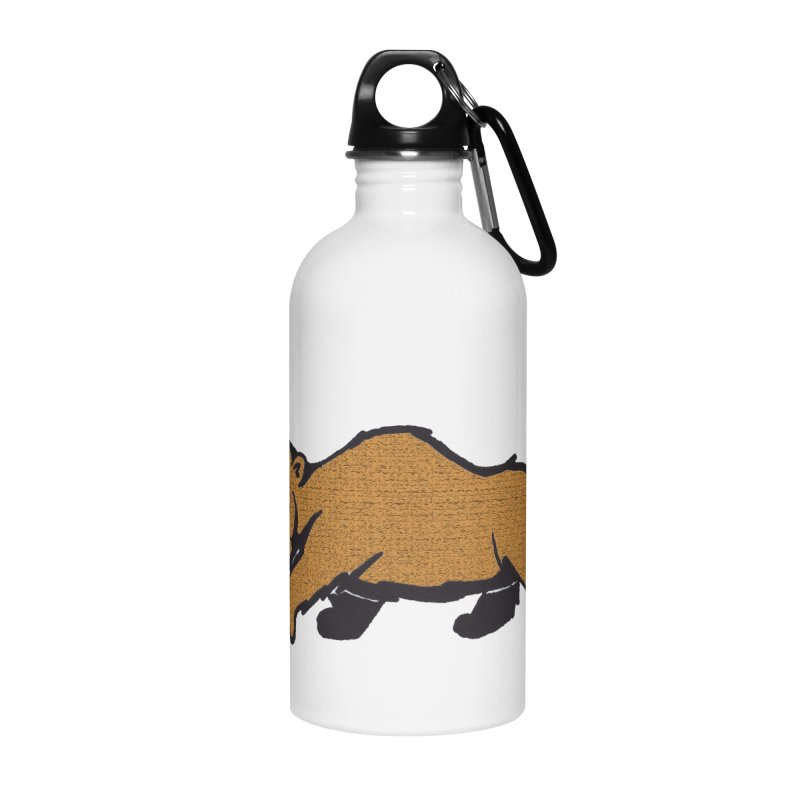 Walking Brown Grizzly Bear Accessories Water Bottle by The Wilderness Store