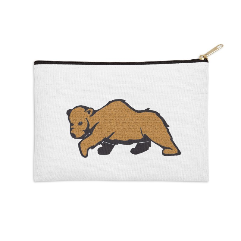 Walking Brown Grizzly Bear Accessories Zip Pouch by The Wilderness Store