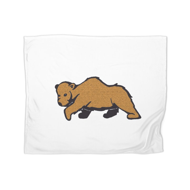 Walking Brown Grizzly Bear Home Fleece Blanket Blanket by The Wilderness Store