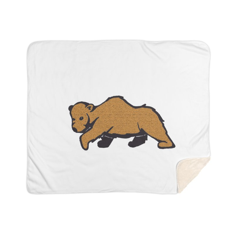 Walking Brown Grizzly Bear Home Sherpa Blanket Blanket by The Wilderness Store