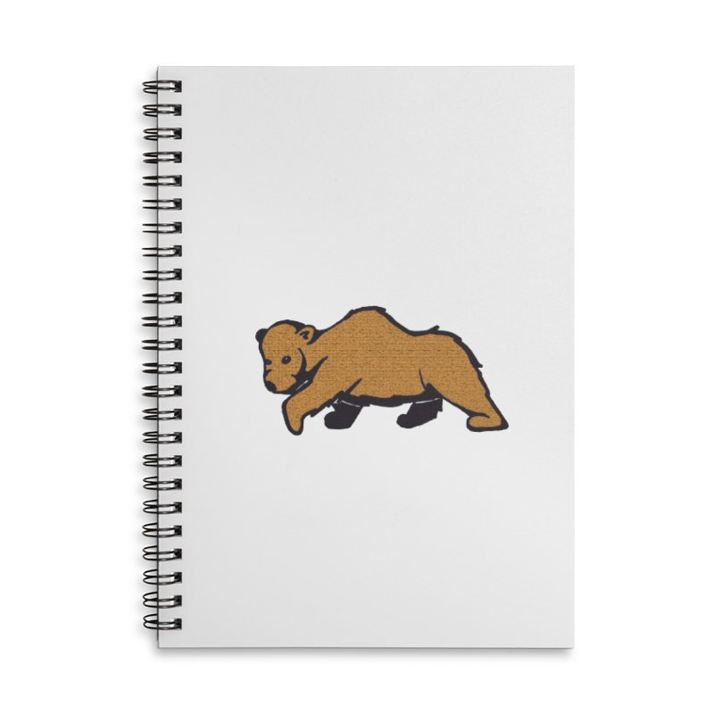 Walking Brown Grizzly Bear Accessories Lined Spiral Notebook by The Wilderness Store