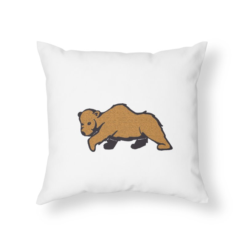 Walking Brown Grizzly Bear Home Throw Pillow by The Wilderness Store