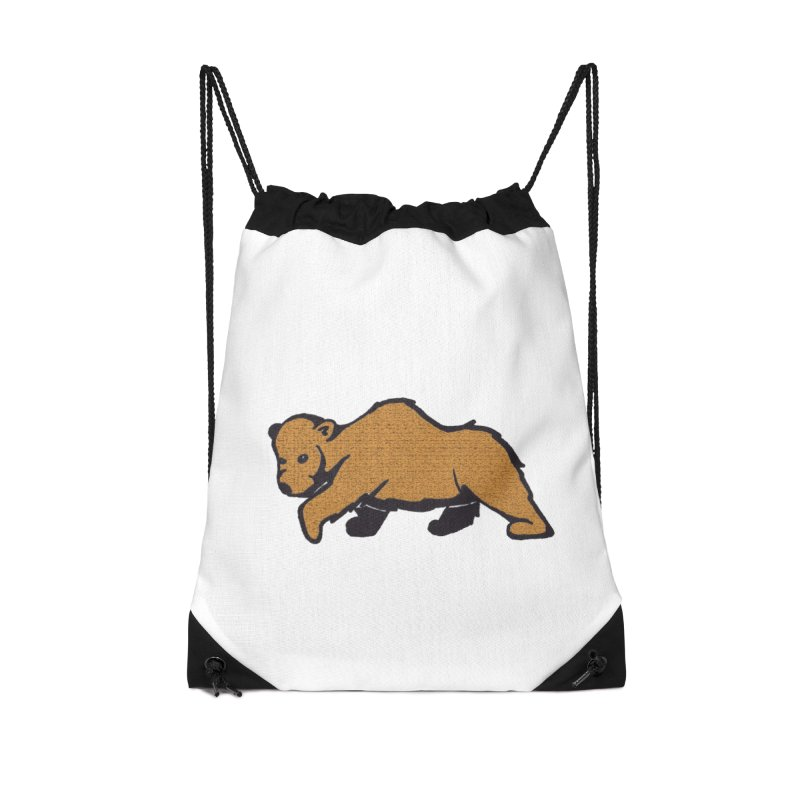 Walking Brown Grizzly Bear Accessories Drawstring Bag Bag by The Wilderness Store