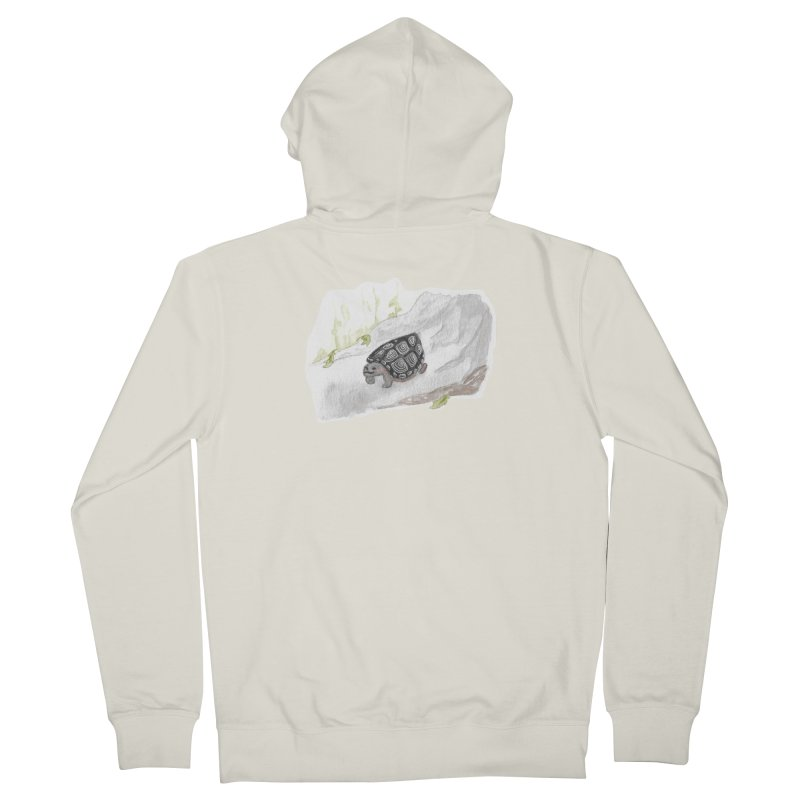 Watercolor Forest Wood Turtle Men's French Terry Zip-Up Hoody by The Wilderness Store