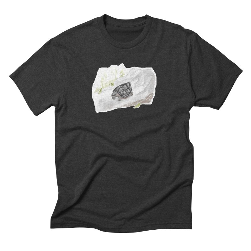 Watercolor Forest Wood Turtle Men's Triblend T-Shirt by The Wilderness Store