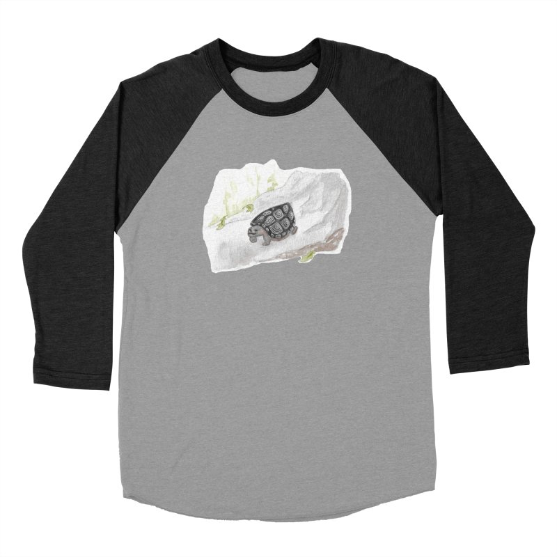 Watercolor Forest Wood Turtle Men's Baseball Triblend Longsleeve T-Shirt by The Wilderness Store