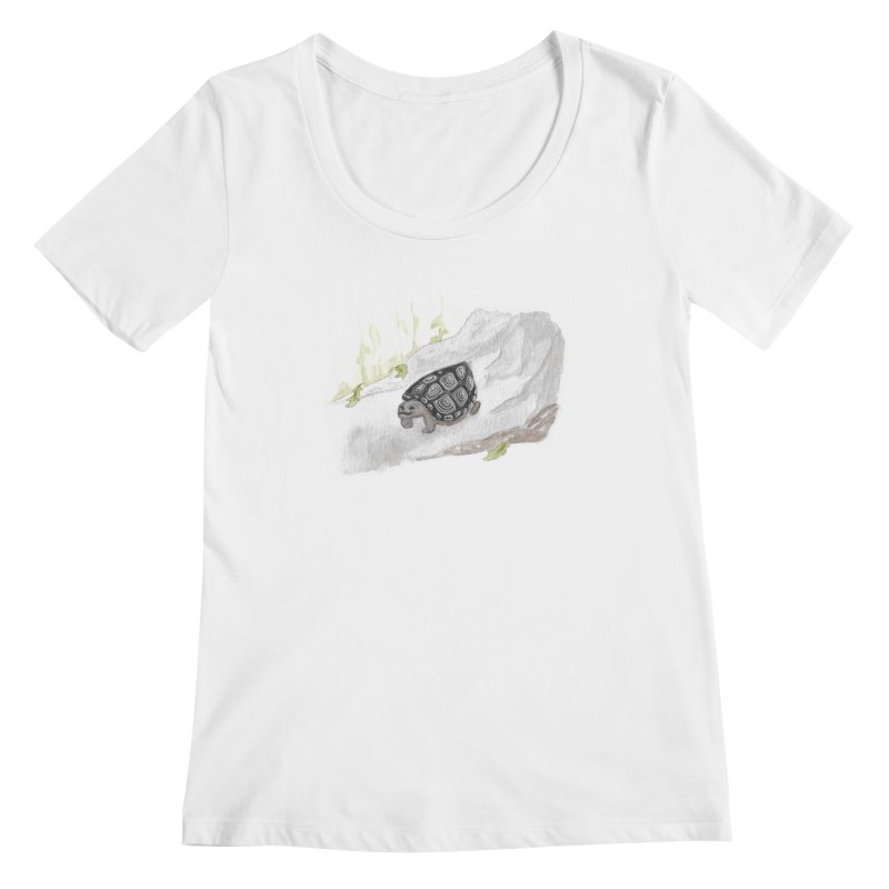 Watercolor Forest Wood Turtle Women's Regular Scoop Neck by The Wilderness Store