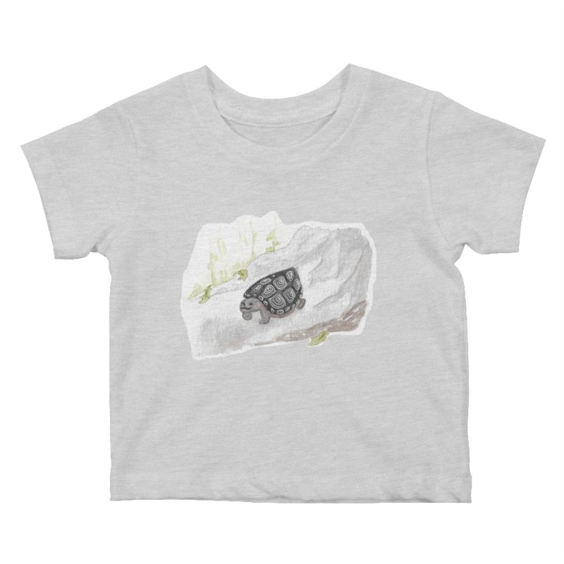 Watercolor Forest Wood Turtle Kids Baby T-Shirt by The Wilderness Store