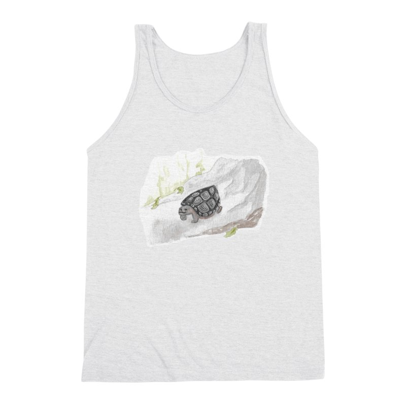Watercolor Forest Wood Turtle Men's Triblend Tank by The Wilderness Store