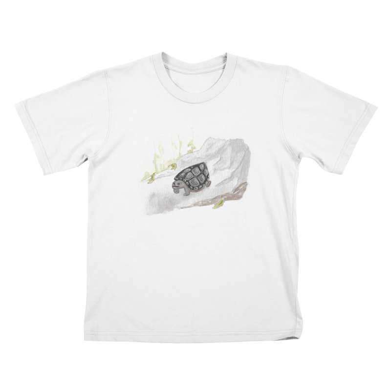 Watercolor Forest Wood Turtle Kids T-Shirt by The Wilderness Store