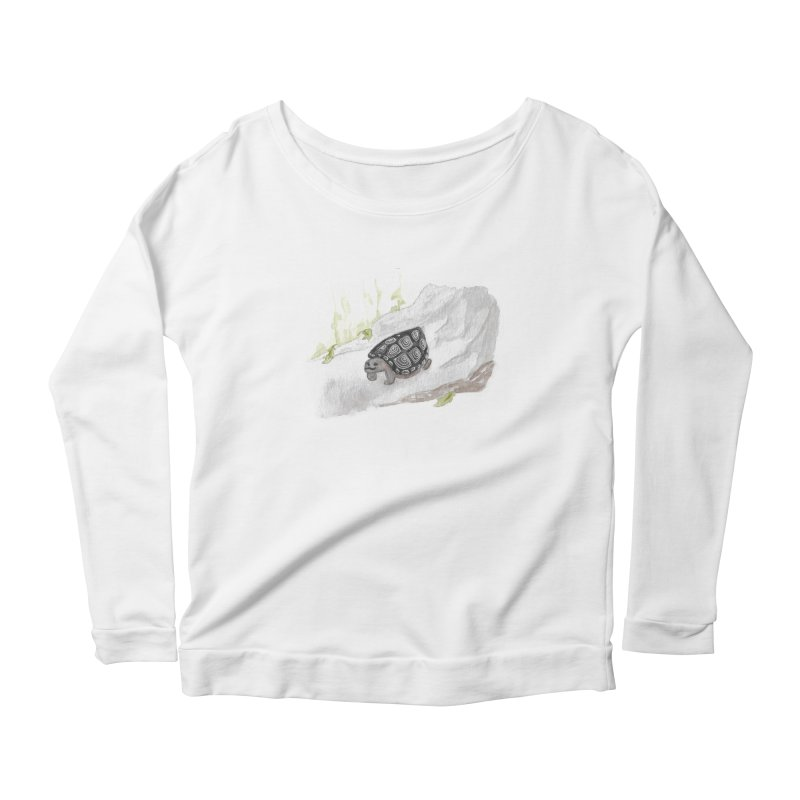 Watercolor Forest Wood Turtle Women's Scoop Neck Longsleeve T-Shirt by The Wilderness Store