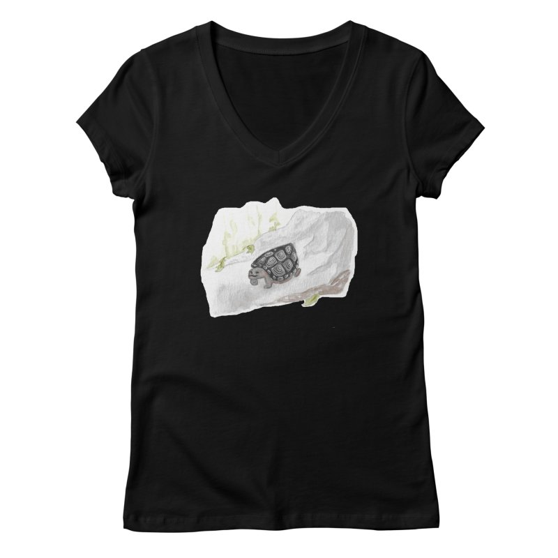 Watercolor Forest Wood Turtle Women's Regular V-Neck by The Wilderness Store