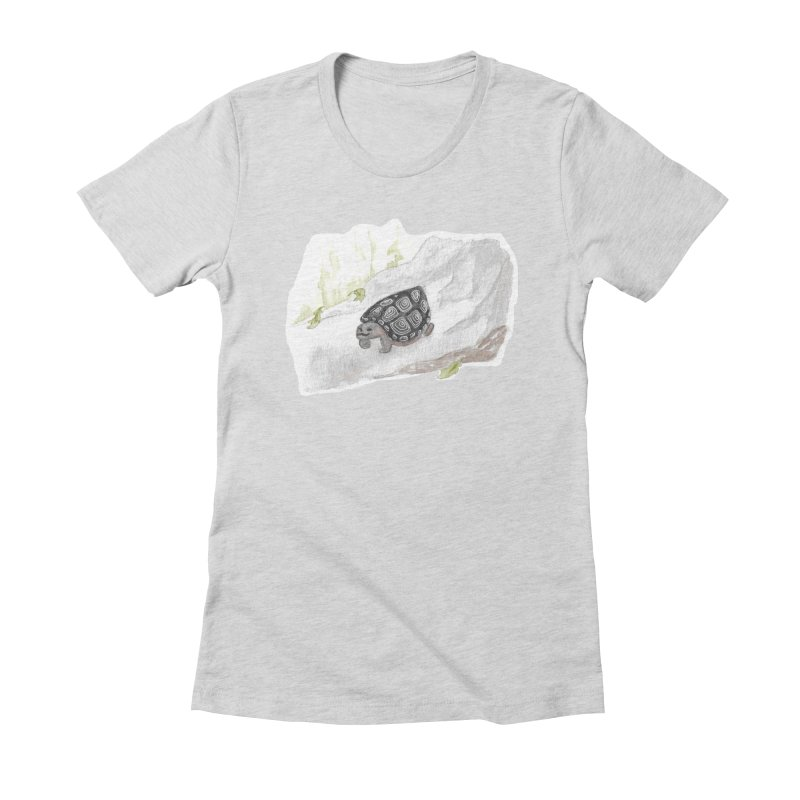 Watercolor Forest Wood Turtle Women's Fitted T-Shirt by The Wilderness Store