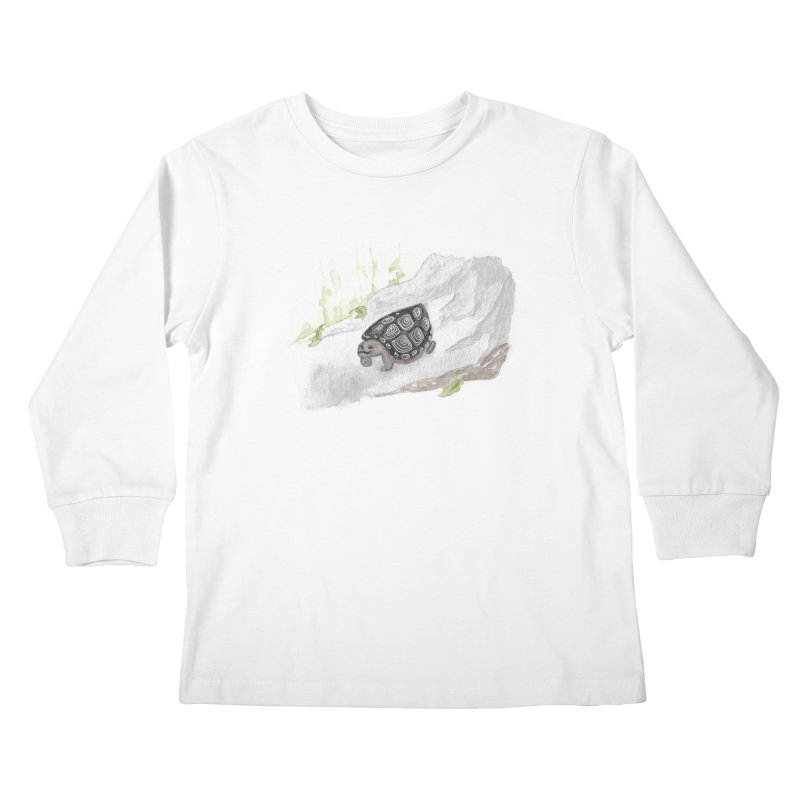 Watercolor Forest Wood Turtle Kids Longsleeve T-Shirt by The Wilderness Store