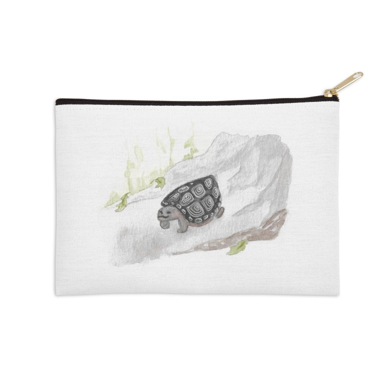 Watercolor Forest Wood Turtle Accessories Zip Pouch by The Wilderness Store