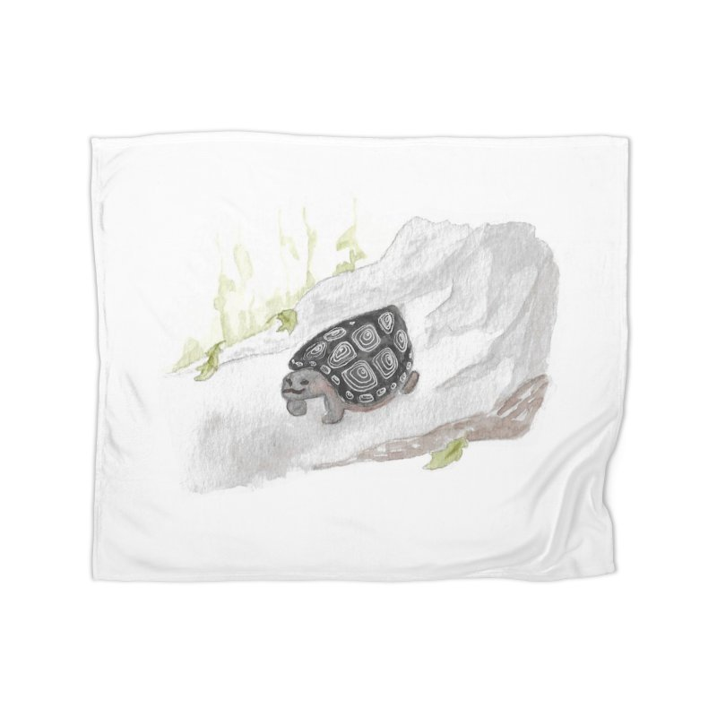 Watercolor Forest Wood Turtle Home Fleece Blanket Blanket by The Wilderness Store