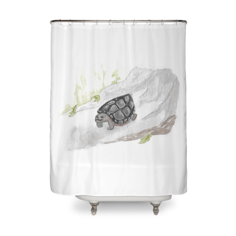 Watercolor Forest Wood Turtle Home Shower Curtain by The Wilderness Store