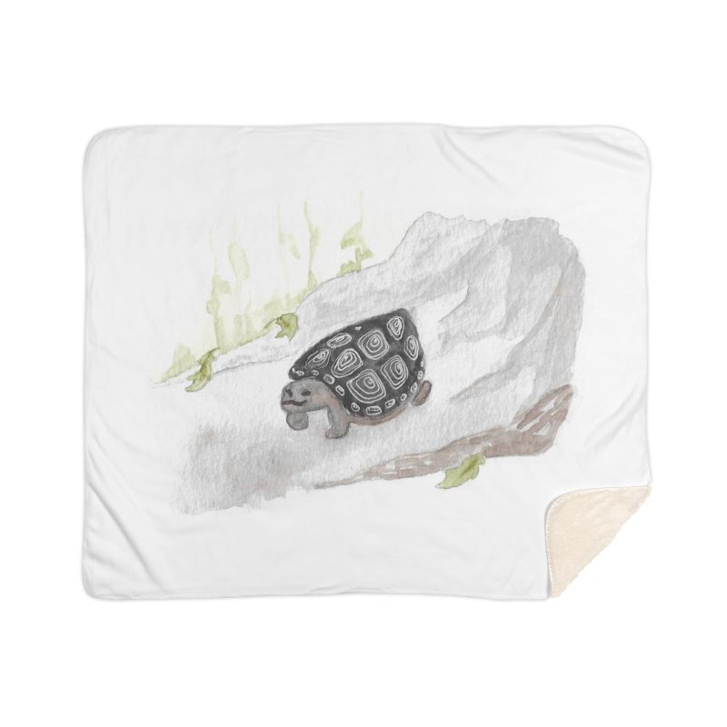 Watercolor Forest Wood Turtle Home Sherpa Blanket Blanket by The Wilderness Store