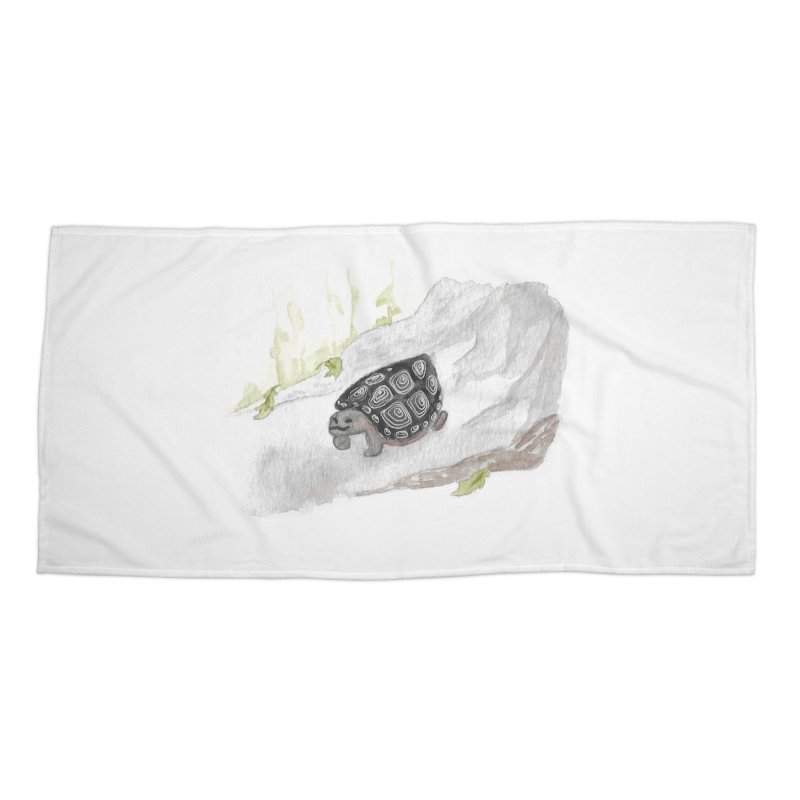Watercolor Forest Wood Turtle Accessories Beach Towel by The Wilderness Store