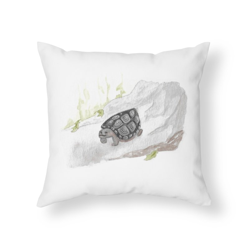Watercolor Forest Wood Turtle Home Throw Pillow by The Wilderness Store