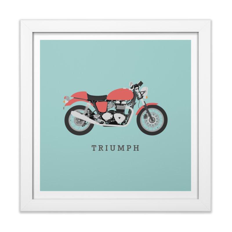 Triumph Thruxton in Framed Fine Art Print White by Willard's illustration shop