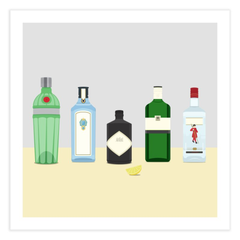 British Gin Home Fine Art Print by Willard's illustration shop