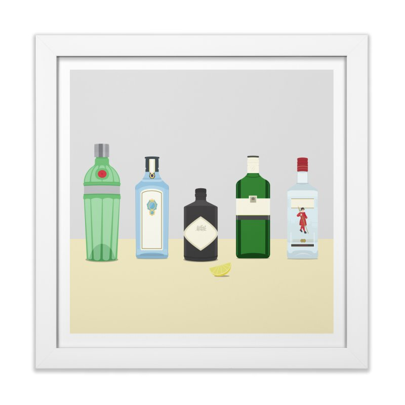 British Gin Home Framed Fine Art Print by Willard's illustration shop