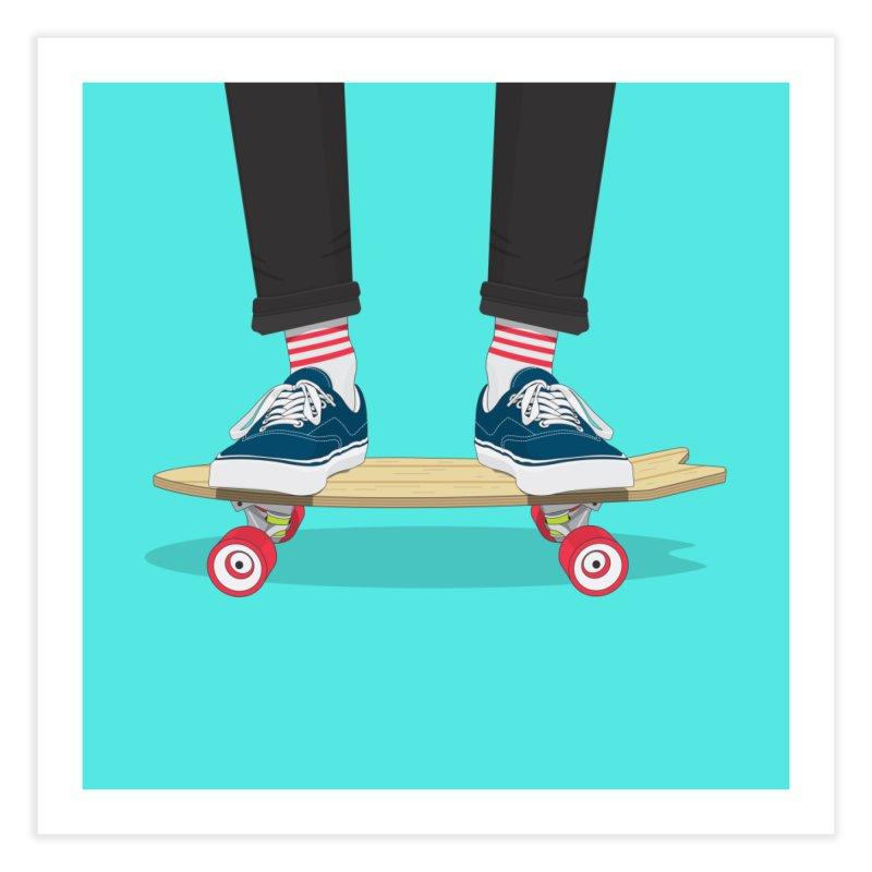 Retro Skate Home Fine Art Print by Willard's illustration shop