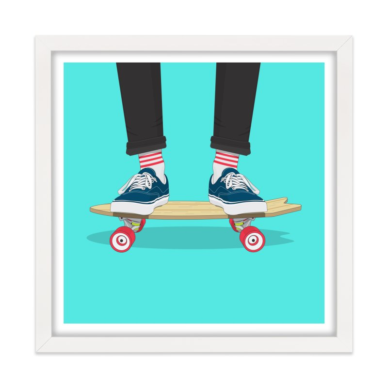 Retro Skate Home Framed Fine Art Print by Willard's illustration shop