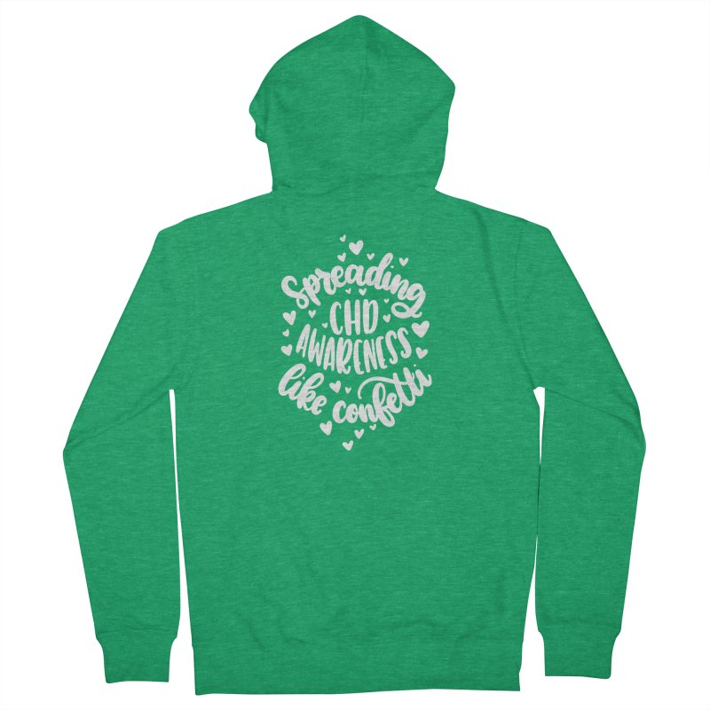 Spreading CHD Awareness Like Confetti Shirt (White) Men's Zip-Up Hoody by With Hope and Grace