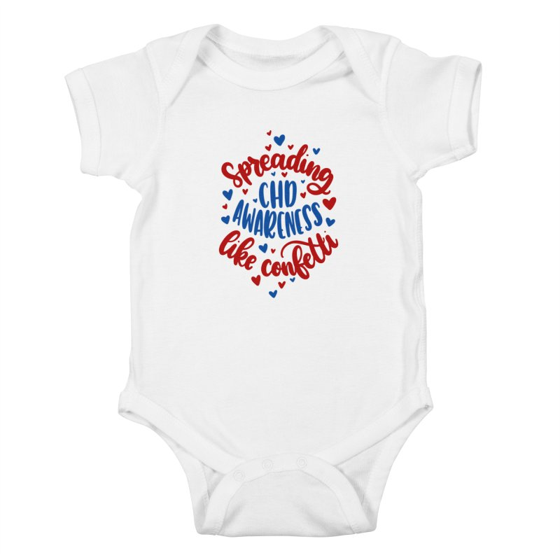 Spreading CHD Awareness Like Confetti Shirt (Red and Blue) Kids Baby Bodysuit by With Hope and Grace