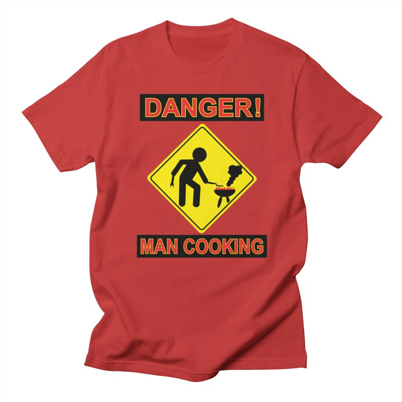 DANGER! MAN COOKING in Men's Regular T-Shirt Red by WizardDesign's Artist Shop