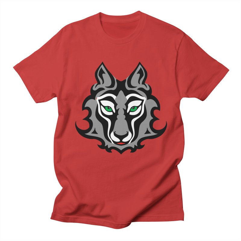 Wolf Totem in Men's Regular T-Shirt Red by WizardDesign's Artist Shop