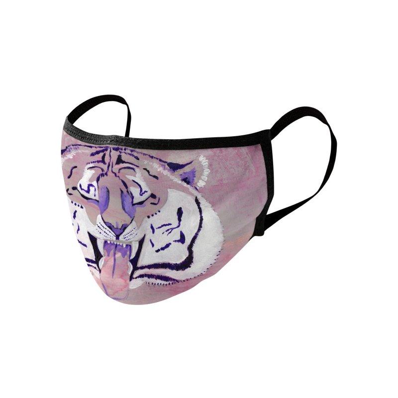 Pink Tiger Face Accessories Face Mask by Wondroustrange's Artist Shop
