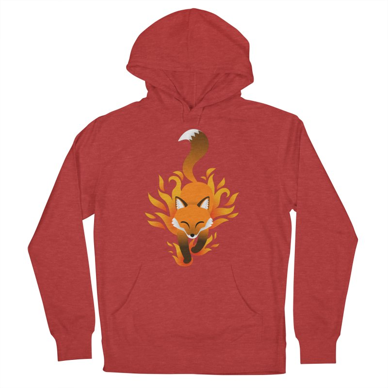 Fire Fox Men's French Terry Pullover Hoody by Designs by WoollyRex