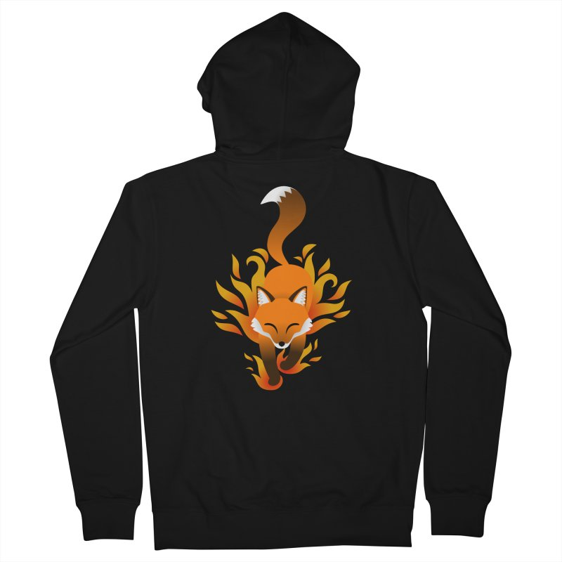 Fire Fox Men's French Terry Zip-Up Hoody by Designs by WoollyRex