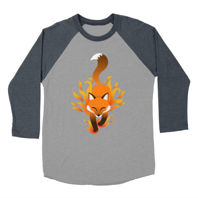 Fire Fox Women's Baseball Triblend T-Shirt by Designs by WoollyRex
