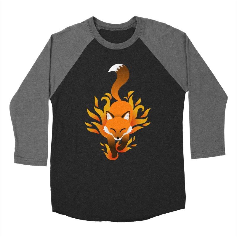 Fire Fox Men's Baseball Triblend T-Shirt by Designs by WoollyRex
