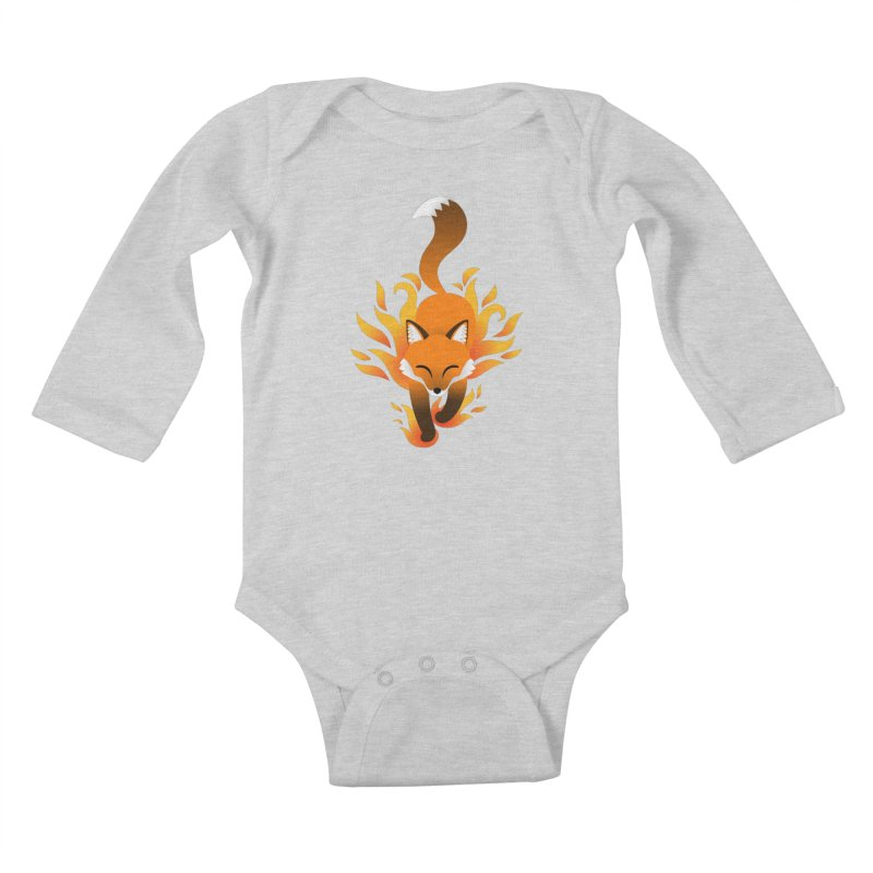 Fire Fox Kids Baby Longsleeve Bodysuit by Designs by WoollyRex