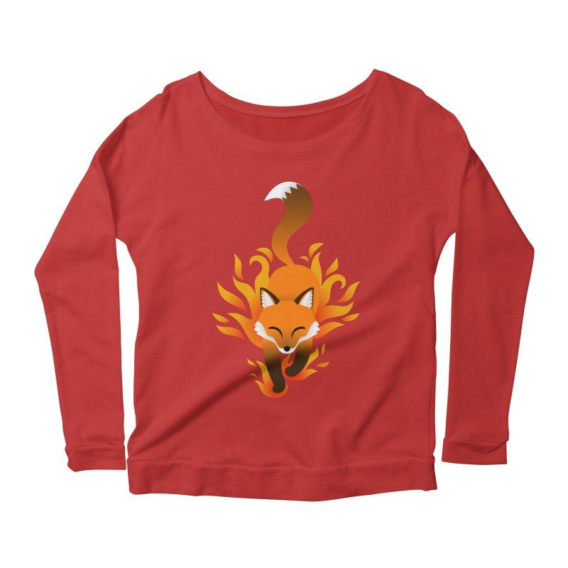 Fire Fox Women's Longsleeve Scoopneck  by Designs by WoollyRex