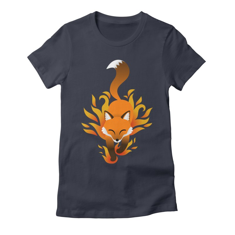 Fire Fox Women's Fitted T-Shirt by Designs by WoollyRex