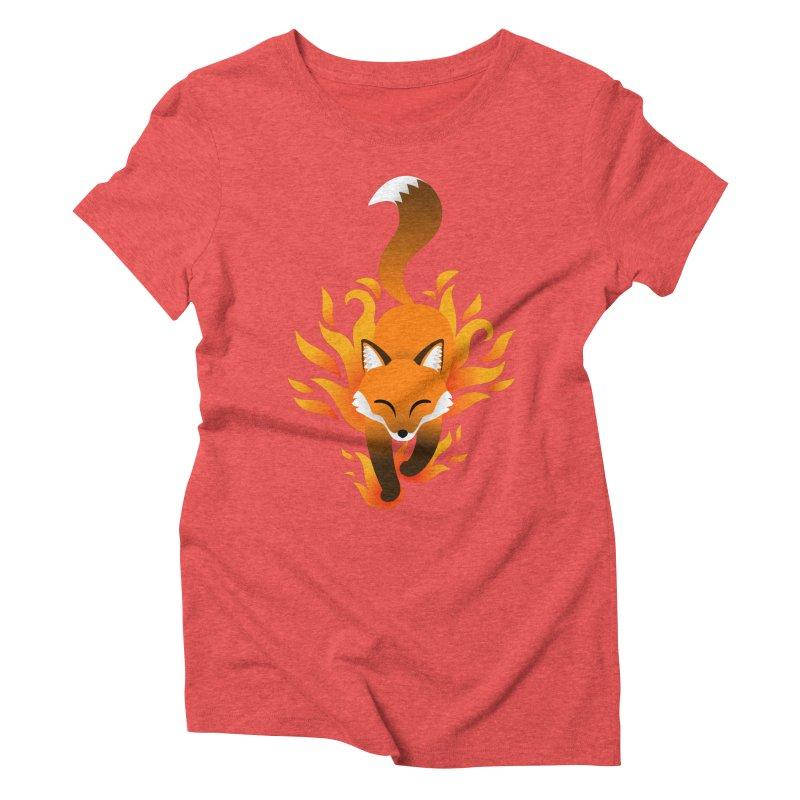 Fire Fox Women's Triblend T-Shirt by Designs by WoollyRex