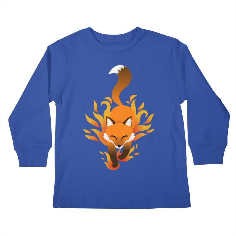 Fire Fox Kids Longsleeve T-Shirt by Designs by WoollyRex