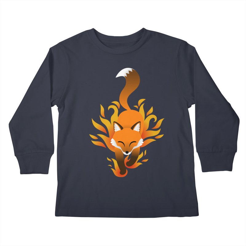 Fire Fox Kids Longsleeve T-Shirt by Designs by WoollyRex