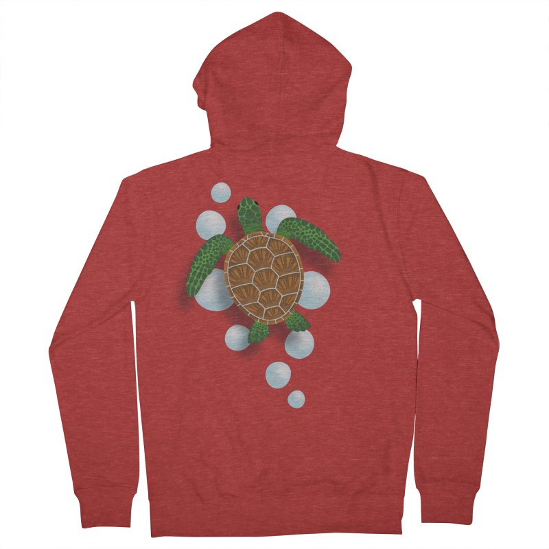 Sea Turtle Men's French Terry Zip-Up Hoody by Designs by WoollyRex