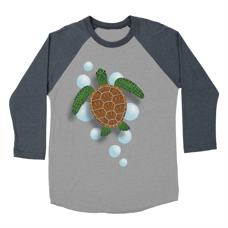Sea Turtle Men's Baseball Triblend Longsleeve T-Shirt by Designs by WoollyRex